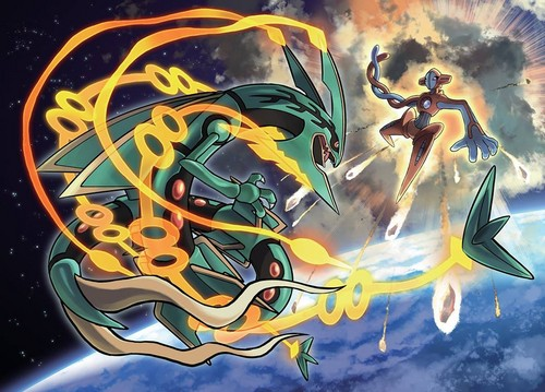 Legendary Pokemon پیپر وال containing عملی حکمت called Mega Rayquaza and Deoxis