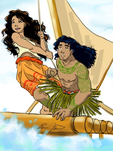 Disney's Moana Hintergrund containing Anime entitled Moana and Maui