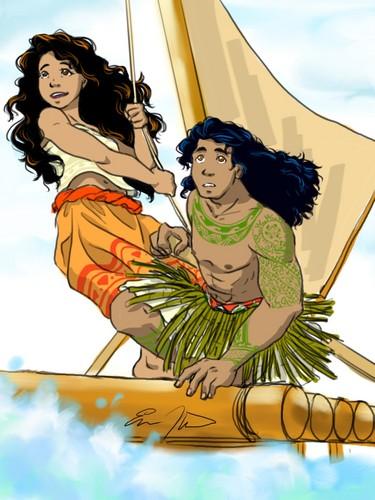 Moana wallpaper containing Anime called Moana and Maui
