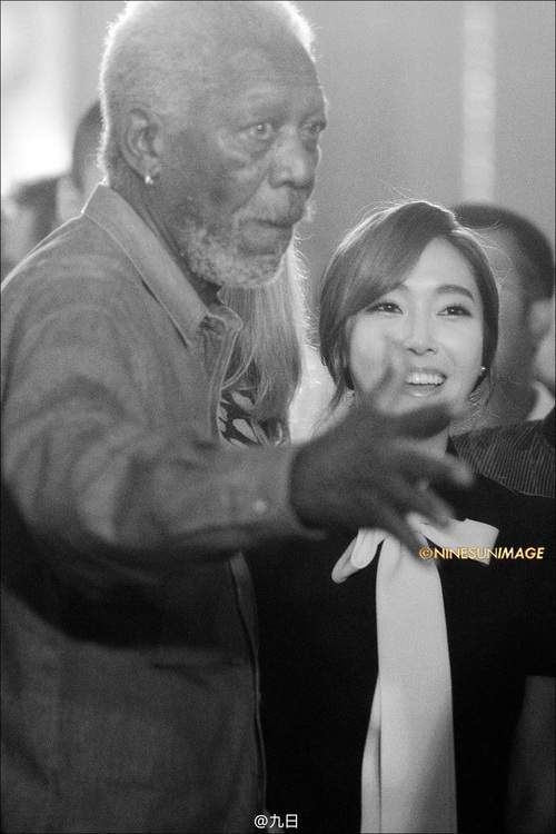 morgan Freeman with Jessica Jung