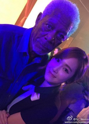 morgan Freeman with Jessica Jung