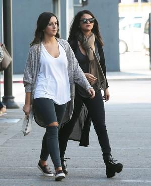 November 2: Selena stops by Starbucks with a friend in Los Angeles, CA