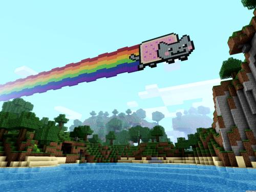 Minecrat Hintergrund containing a business district titled Nyan Cat Hintergrund