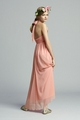 Pleated Chiffon Halter Long Junior Bridesmaid Dress