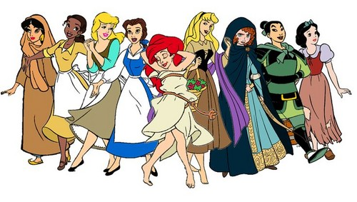 Disney Princess پیپر وال probably containing عملی حکمت titled Princesses without their fancy dresses.
