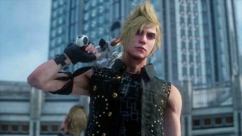 Final Fantasy XV achtergrond possibly containing a street, a business district, and a wolkenkrabber titled Prompto's new design
