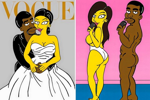 심슨 가족 바탕화면 containing 아니메 entitled Simpsons : Kayne West and Kim Kardashion