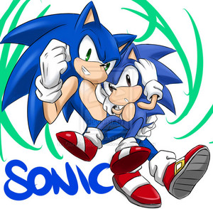 Sonic and chibi Sonic