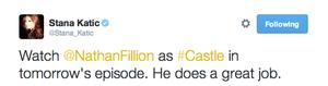 Stana's tweet(November 9,2014)