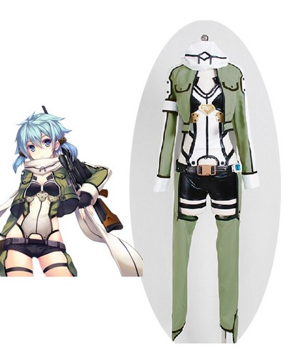 Sword Art Online wallpaper possibly with a tabard called Sword Art Online Ⅱ Phantom Bullet Sinon Cosplay Costume