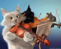 TWO CATS VIOLIN WITH LIL MOUSE