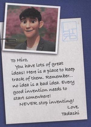 Tadashi in Hiro's journal