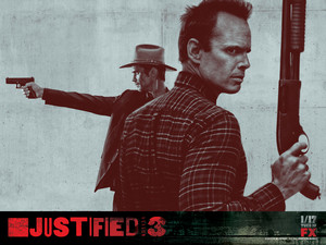 Timothy Olyphant as Raylan Givens and Walton Goggins as Boyd Crowder in Justified