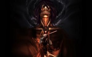 Titan Eren and Mikasa