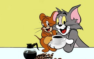 Tom and Jerry drinking Coffee