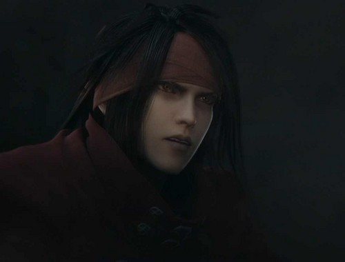 Vincent Valentine वॉलपेपर containing a बरसती, लबादा titled Vincent in Dirge of Cerebus opening
