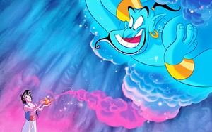 Walt Дисней Book Обои - Prince Аладдин & Genie