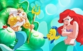 Walt Disney Book Images - Sebastian, King Triton, Flounder & Princess Ariel