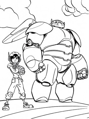 Walt Disney Coloring Pages - Hiro Hamada & Baymax