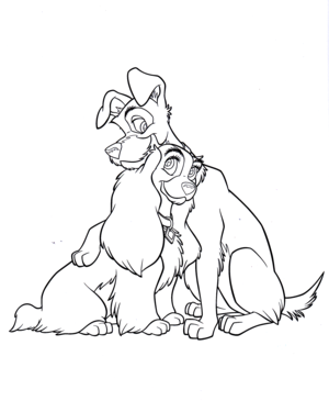 Walt ディズニー Coloring Pages - Lady & The Tramp