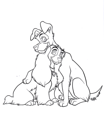 Lady And The Tramp Coloring Books: Walt Disney Characters Images Walt Disney Coloring Pages