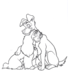 Walt Disney Coloring Pages - Lady & The Tramp