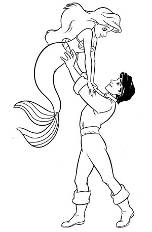 Walt Disney Coloring Pages - Princess Ariel & Prince Eric
