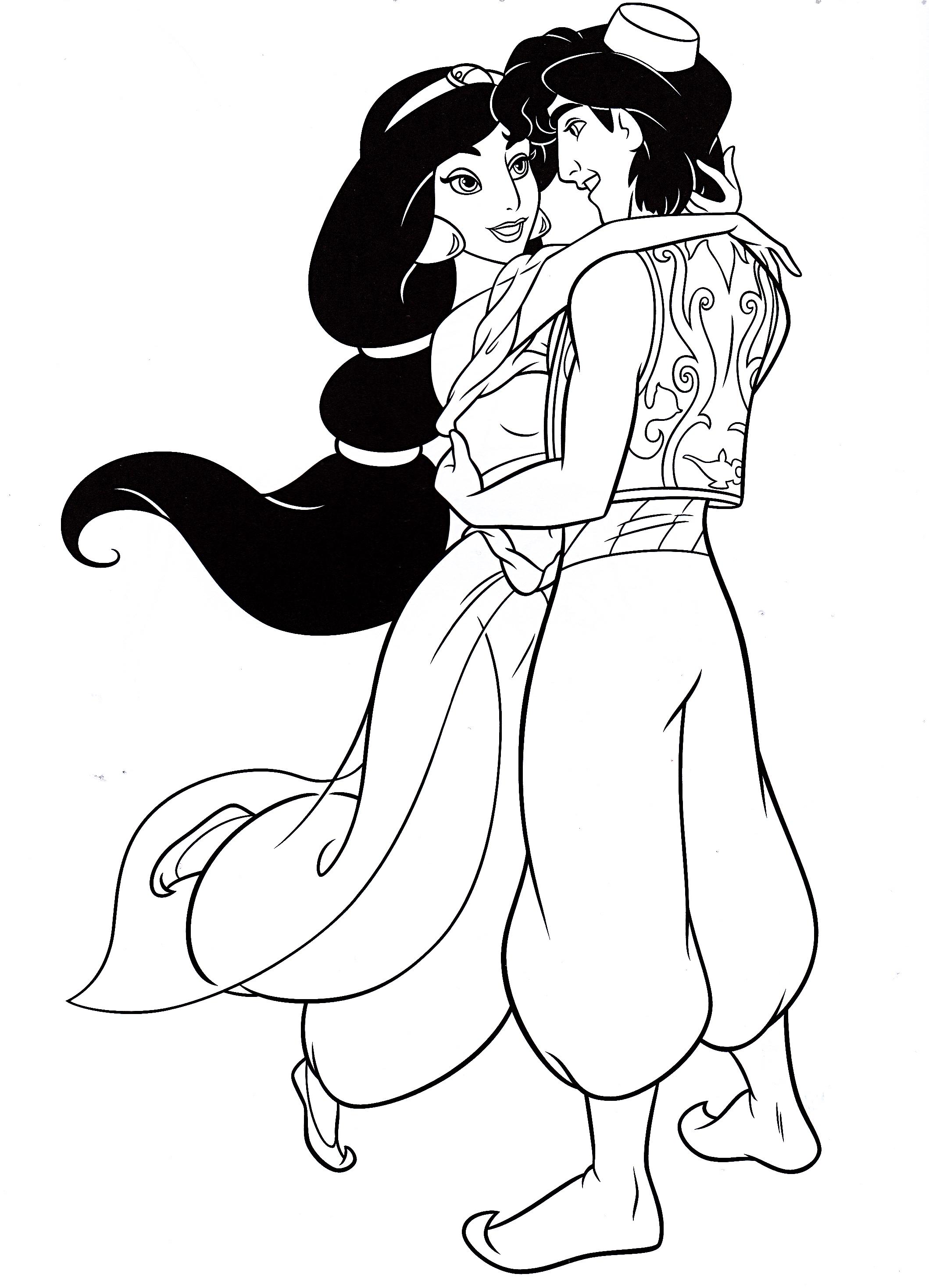Walt Disney Coloring Pages - Princess Jasmine & Prince ...