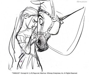 Walt ディズニー Sketches - Princess Rapunzel & Maximus