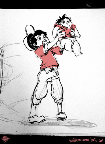 6 Grandes Héroes fondo de pantalla with anime entitled Young Tadashi and Baby Hiro