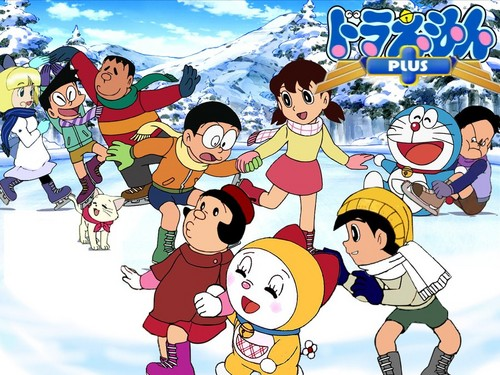 Doraemon Hintergrund with Anime called Doraemon in winter
