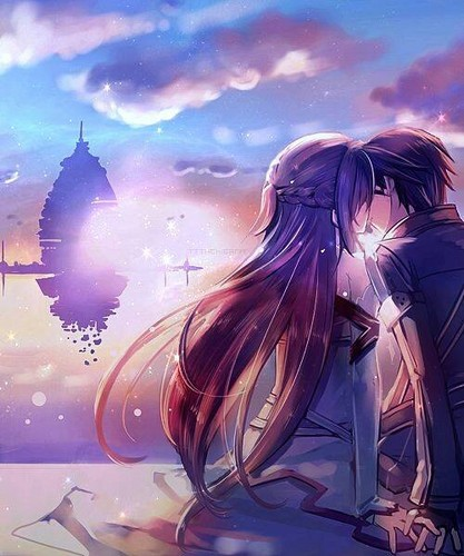 Anime wallpaper titled kiss kirito and asuna