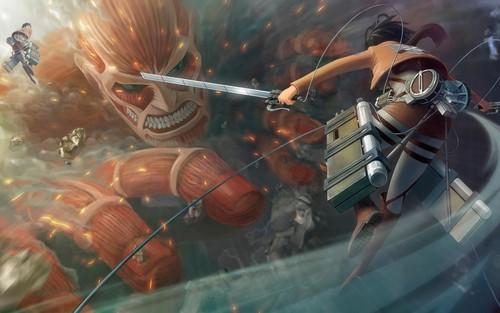 Attack on Titan karatasi la kupamba ukuta titled mikasa ackerman