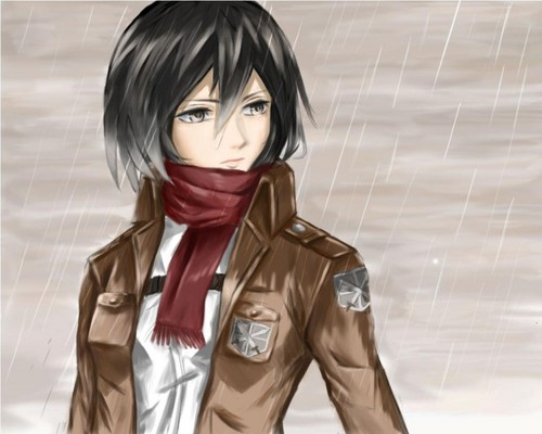 Attack on Titan karatasi la kupamba ukuta probably containing a trench coat, an overgarment, and a well dressed person titled mikasa ackerman
