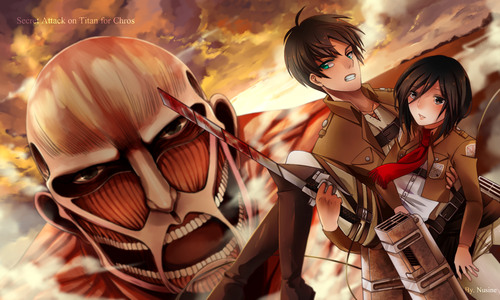 Shingeki no Kyojin (Attack on Titan) Hintergrund titled mikasa and eren