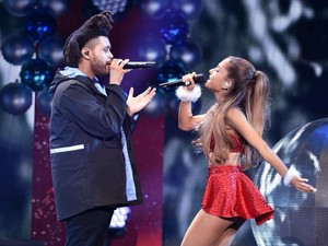 Ariana Grande performing on halik FM'S Jingle Ball in Los Angeles