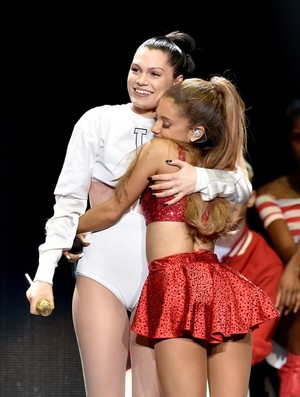 Ariana Grande performing on किस FM'S Jingle Ball in Los Angeles