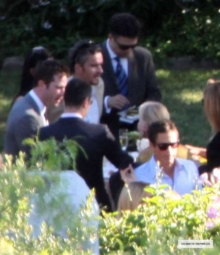 Luke Macfarlane Hintergrund possibly containing a bouquet and a flowerbed titled DAVE ANNABLE & ODETTE YUSTMAN WEDDING, OCTOBER 10TH 2010