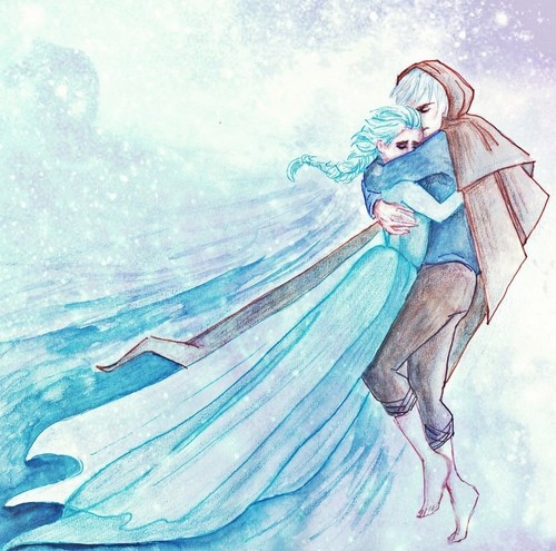 Elsa & Jack Frost Hintergrund probably containing Anime called 💙I will always be your guardian...💙