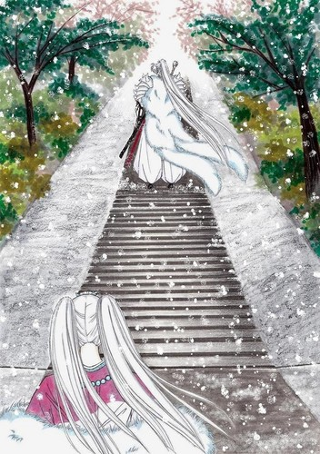 Inuyasha wallpaper probably containing a railroad tunnel, a lychgate, and a street entitled 滲む視界の先に by MAKINO