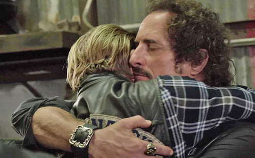 Sons Of Anarchy wallpaper possibly with a diner, a sign, and a street entitled 7x13 - Papa's Goods - Jax and Tig