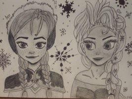 Anna and Elsa - Fanart.