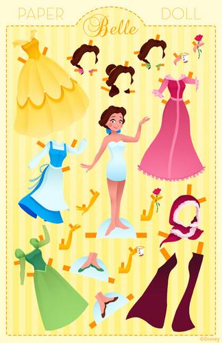 Princess Belle wallpaper entitled Belle Paper Doll