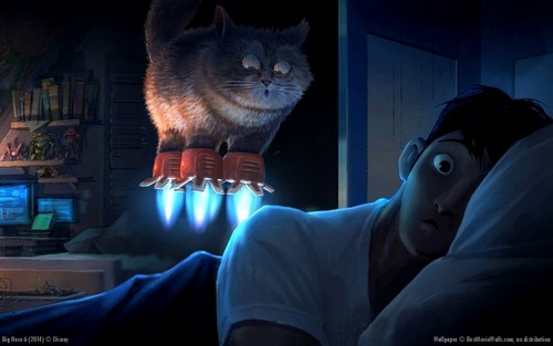 Big Hero 6 Hintergrund possibly containing a kitten, a tom, and a cat titled Big Hero 6 Hintergrund from concept art