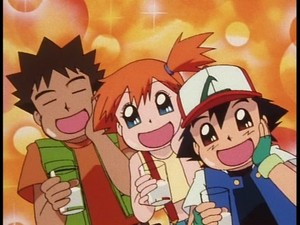 Brock, Misty, and Ash drinking fresh, clean, pure water