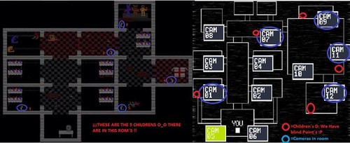 Five Nights at Freddy's karatasi la kupamba ukuta titled Comparison map.