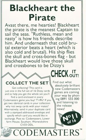 Dizzy Cards: Blackheart - Back
