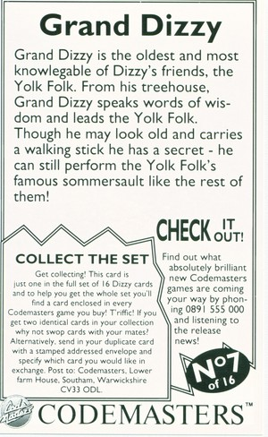 Dizzy Cards: Grand Dizzy - Back