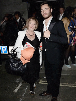 "Ed Westwick at the ""Great Britain"" opening night in London with his mother (September 26, 2014)"