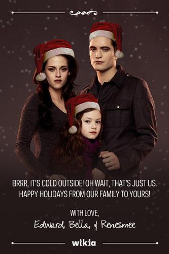 Siri-siri Twilight kertas dinding entitled Edward,Bella,Renesmee Krismas